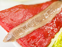 Food salmon anchovy salad Stock Photo
