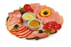 Food sausage sliced ham mustard isolated plate on Stock Photo