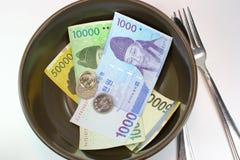Food Savings. Korean coins and bill Stock Photography