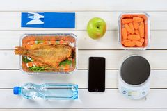 Food scale and apple royalty free stock photo