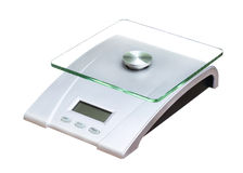 Food scale electronic and digital isolated on white Royalty Free Stock Photography