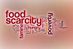 Food scarcity word cloud with abstract background Stock Images