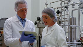 Food scientists working together in lab stock footage