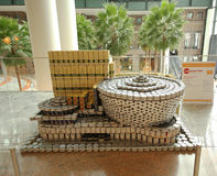 Food sculpture presented at 24th Annual Canstruction competition in New York. NEW YORK - NOVEMBER 3, 2016: Food sculpture presented at 24th Annual Canstruction Royalty Free Stock Image