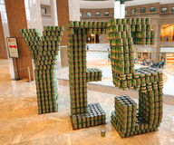 Food sculpture presented at 24th Annual Canstruction competition in New York. NEW YORK - NOVEMBER 3, 2016: Food sculpture presented at 24th Annual Canstruction Royalty Free Stock Photo