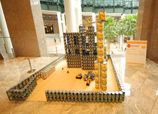 Food sculpture presented at 24th Annual Canstruction competition in New York. NEW YORK - NOVEMBER 3, 2016: Food sculpture presented at 24th Annual Canstruction Stock Image