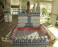 Food sculpture presented at 10th Annual Long Island Canstruction competition in Uniondale. UNIONDALE, NEW YORK - NOVEMBER 1, 2016: Food sculpture presented at Stock Photography