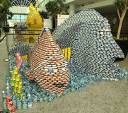 Food sculpture presented at 10th Annual Long Island Canstruction competition in Uniondale. UNIONDALE, NEW YORK - NOVEMBER 1, 2016: Food sculpture presented at Royalty Free Stock Image