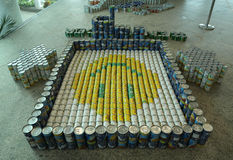 Food sculpture presented at 10th Annual Long Island Canstruction competition in Uniondale. UNIONDALE, NEW YORK - NOVEMBER 1, 2016: Food sculpture presented at Royalty Free Stock Photo