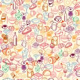 Food seamless background. Colorful food and drink seamless background, vector Stock Photos