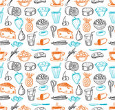 Food seamless doodles pattern