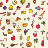 Food seamless graphic pattern, funny design. Royalty Free Stock Photo