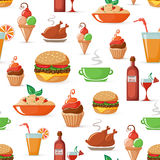 Food seamless icons pattern Royalty Free Stock Photography