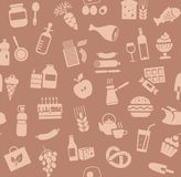 Food, seamless pattern, brown, color, grocery store, vector. Food and drinks, production and sale. Vector background. Brown icons on a brown field Royalty Free Stock Images