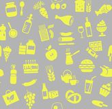 Food, seamless pattern, color, gray, yellow, grocery, vector. Food and drinks, production and sale. Vector background. Yellow icons on a gray field Stock Photo