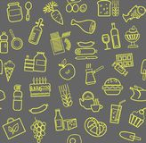 Food, seamless pattern, contour, gray-yellow, grocery store, vector. Food and drinks, production and sale. Vector background. Yellow line icons on the grey box Royalty Free Stock Photography