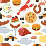 Food seamless pattern in flat style Stock Images
