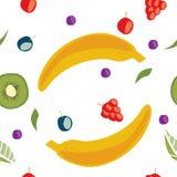 Food seamless pattern. Fruit seamless pattern contain banana, grape, berry, blueberry, kiwi vector illustration
