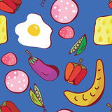 Food seamless pattern of funny design Stock Photo