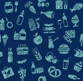 Food, seamless pattern, grocery store, pencil shading, color, blue, vector. Food and drinks, production and sale. Blue icons on a dark blue field. Imitation of Royalty Free Stock Photos