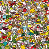 Food seamless pattern. (repeated) with mini doodle drawings (icons). Illustration is in eps8 vector mode Royalty Free Stock Images