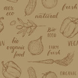 Food seamless pattern. Vector hand drawn seamless pattern. Bio organic food, 100 eco natural fresh and vegan. Carrot paprika onion olive cucumber tomato Stock Images