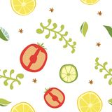 Food seamless pattern. Vegetable seamless pattern of tomato, lime, lemon royalty free illustration