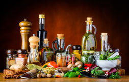 Food Seasoning Spices, herbs and Oil Stock Photo