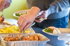 Food in a self service restaurant Royalty Free Stock Photography