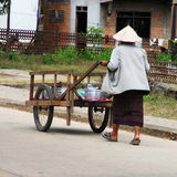 Food seller. A food seller in the streets of Savvanakhet, Laos stock photo