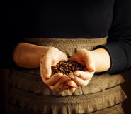 Senior woman holding coffee beans Royalty Free Stock Image