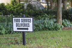 Food Service Deliveries Sign. In a Florida retirement village Stock Photos