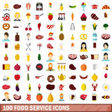 100 food service icons set, flat style. 100 food service icons set in flat style for any design vector illustration Stock Image