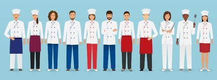 Food service occupation team standing in uniform. Group of catering characters chef, cook, waiters and barman. Stock Photo