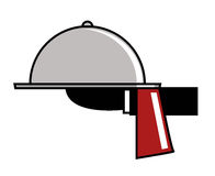 Food serving. Simple icon for food serving colored royalty free illustration
