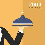 Food serving tray platter. With waiter hand restaurant menu design template layout vector illustration Royalty Free Stock Image