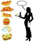 Food set. Food and waiter vector illustration Royalty Free Stock Image