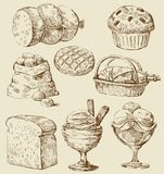 Food set. Vector vintage hand drawn of food Royalty Free Stock Photos