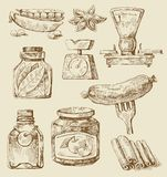 Food set. Vector vintage hand drawn of food Stock Photography