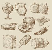 Food set. Vector vintage hand drawn of kitchen Royalty Free Stock Image