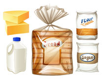 Food set with bread and milk. Illustration royalty free illustration