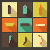 Food. Set of bright icons in flat style. Flat icons set. Minimalism, varicolored, long shadow Stock Photography