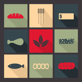 Food. Set  of bright icons in flat style. Flat icons set. Minimalism, varicolored, long shadow Royalty Free Stock Photos