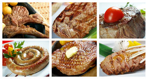 Food set of different  steak Stock Photos
