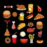 Food set. feed Icon Collection. Signs meat. Pizza and tacos. Fre Royalty Free Stock Photo