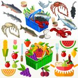 Food Set Fish and Vegetables 3D Isometric Royalty Free Stock Photos