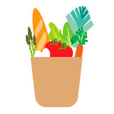 Food set icon in paper bag Royalty Free Stock Images