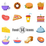 Food set of 14 icons in a flat style Royalty Free Stock Photo