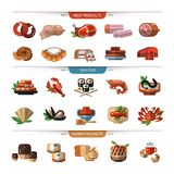 Food set of icons, symbols. Meat, seafood, bread. Stock Photo