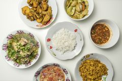 Set of asian malay food stock image
